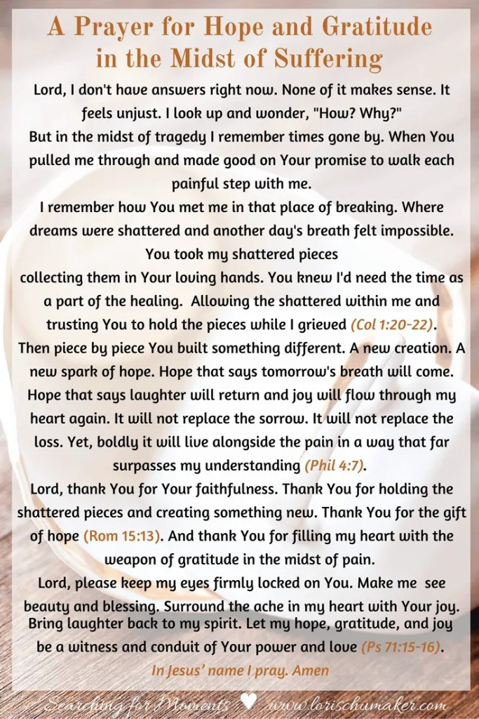 A Prayer for Hope and Gratitude in the Midst of Suffering - #MomentsofHope - Lori Schumaker