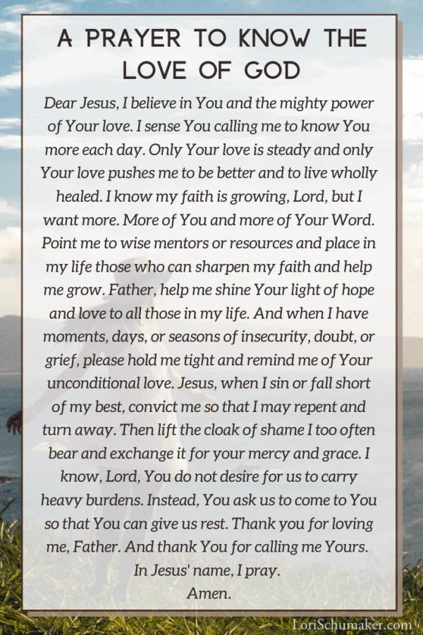Pray this prayer and join me to deepen your faith and encounter the love of God in a new way. Make sure to download your beautiful free journal to enhance your faith journey! #loveofgod #godslove #biblestudy #biblejournal #journal #printable #prayer #bibleverses