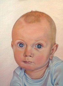 Baby Miles portrait in oils.