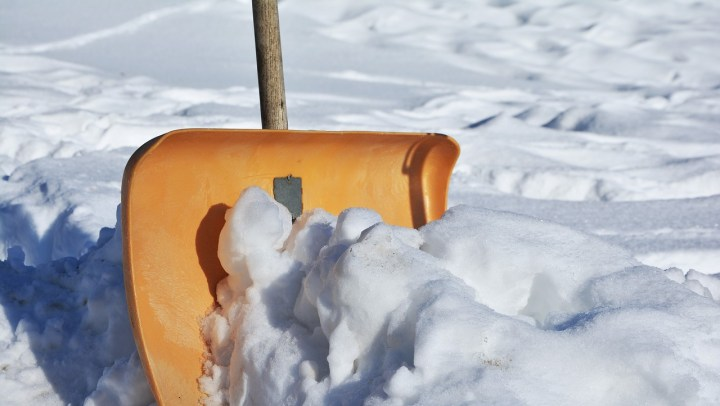 Shovel pushing snow. For blog post on shovelling and elearning.