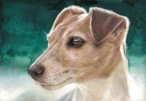 Jack Russell chien gouache