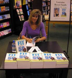 Lorraine signing book for Fit Over 50