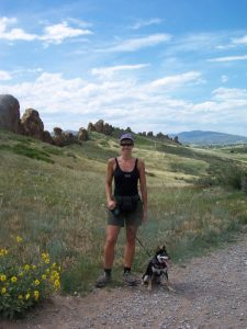 Lorraine and Kuma on the Devil's Backbone Trail