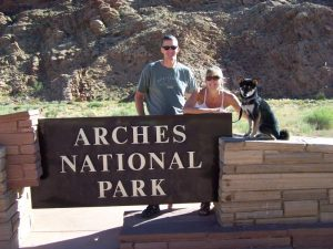 Kuma and his family at Arches National Park
