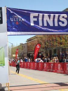 Lorraine crossing the finish line