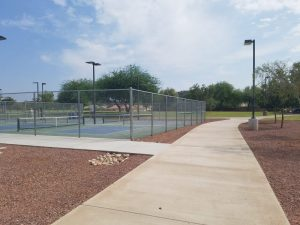 Walking path and pickleball