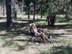 Kuma and his mom camping