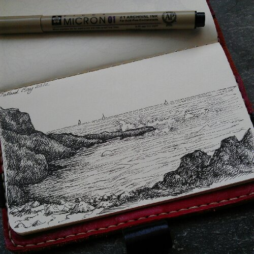 Talland Bay near Polperro drawn in my moleskin