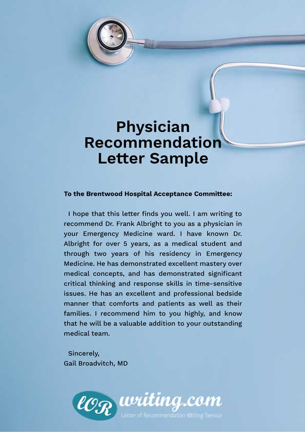 Medical School Recommendation Letter Example