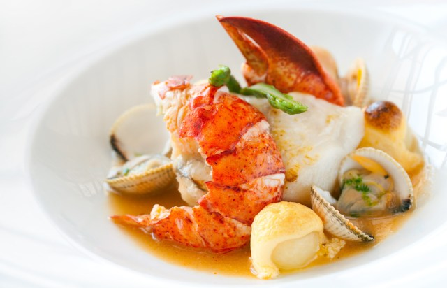 Seafood dish with lobster.