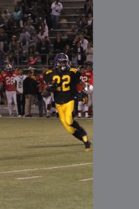 Norwalk's Rashaad Penny gains five yards on his only third quarter carry in the 47th Annual 6-5 All Star Football Classic. Penny gained 31 yards on two carries but caught two passes for 77 yards in the first half. Penny's team, the East all stars, lost 12-3.