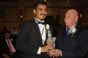 Oswaldo Reyes, winner of the Robert H. Carter Leadership Award.  Randy Economy Photo