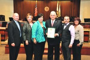 (l-r) Commerce Councilmembers Joe Aguilar, Lelia R. Leon, Mayor Tina Baca Del Rio, Thomas Griego, Councilmembers Ivan Altamirano and Denise M. Robles.