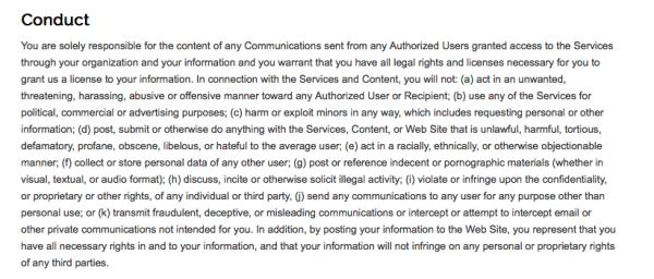 Screenshot of Nixel's Terms of Service.
