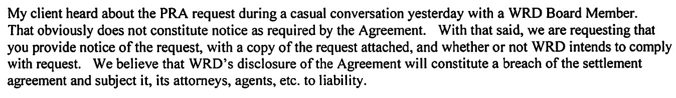 "Except from Schwartz letter indicating Harris learned of the request during a ""casual conversation."""