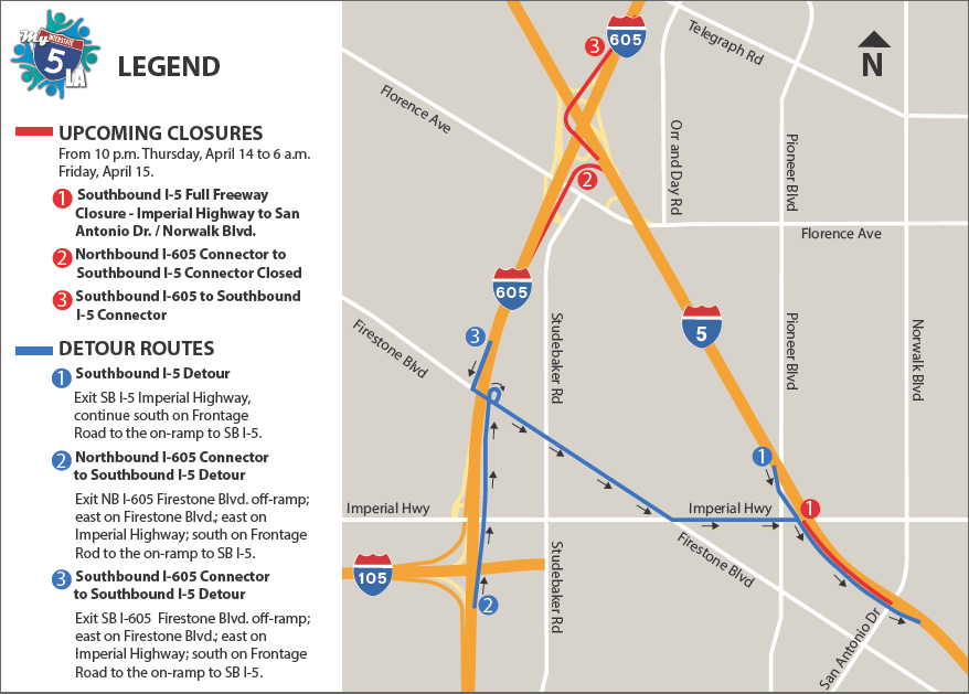 Overnight Closure South 5 Freeway on Thursday April 14 at 10