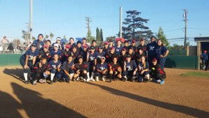 The USA Cal A's Select Team and the Denso softball team from Japan get together following Denso's 10-1 victory this past Wednesday at Santa Ana College. The two teams will playing again today, Saturday and Sunday.