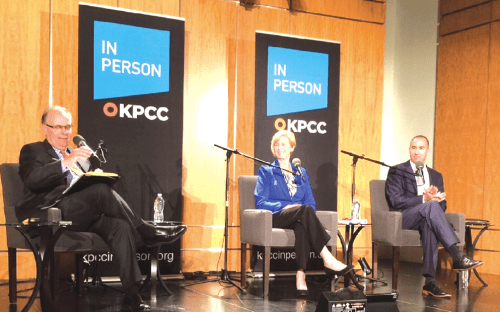 KPPC Radio moderator Larry Mantle joins Congresswoman Janice Hahn and Deputy Secretary Steve Napolitano on stage for a County Supervisorial Candidate Forum at the Cerritos Library.