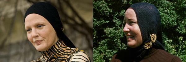 Drew Barrymore caracterizada como Edith Beale, a la izquierda