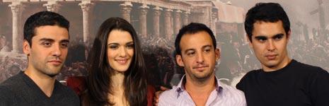 Oscar Isaac, Alejandro Amenábar, Rachel Weisz y Max Minghella en la presentación de 'Ágora' en Madrid