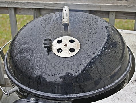Cold wind, especially with rain or snow, draws heat from the Weber very quickly. A sheltered location can help cut heat loss.