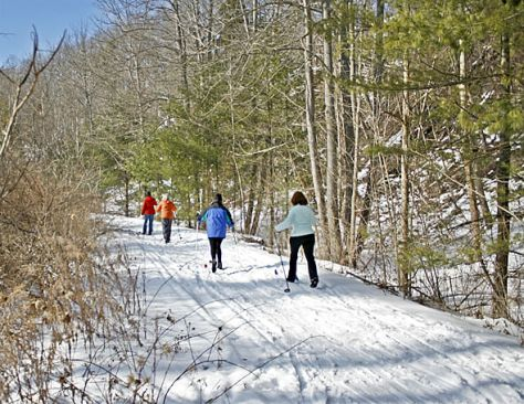Cross-country skiers enjoy a nice snow cover on the Outlet Trail.