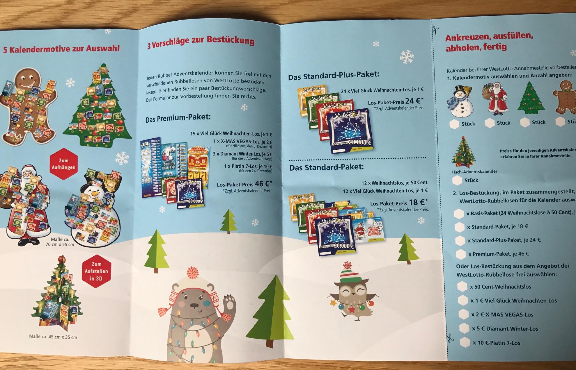 Weihnachtskalender Rubbellose.Rubbellos Adventskalender Von Westlotto Nordrhein Westfalen