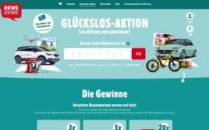 Screenshot REWE Glückslos-Aktion Webseite