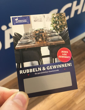 Dänisches Bettenlager Rubbellos Rubbeln&Gewinnen