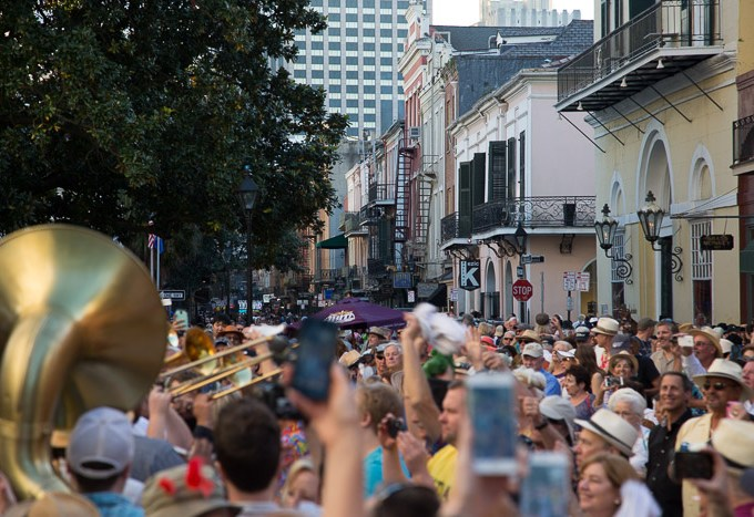 Crowd at the battle of the bands at the French Quarter Fest 2017 in New Orleans