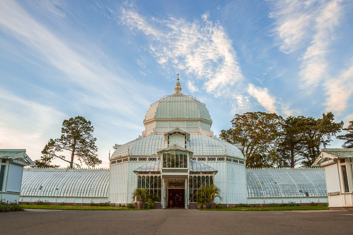 Front of Conservatory of Flowers during the day in San Francisco | Lost Not Found | SF Travel Guide