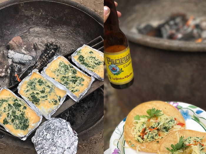 Diptych of Eggs cooking on a campfire and breakfast tacos at Van Damme State Park | LOST NOT FOUND | Mendocino CA Camping Weekend