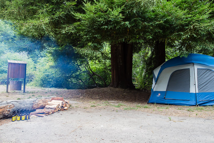 Tent and campsite at Van Damme State Park CA | LOST NOT FOUND | Mendocino CA Camping Weekend
