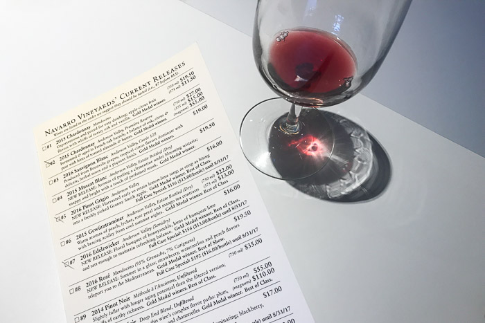 Wine Glass and Tasting Menu at Navarro Vineyards | LOST NOT FOUND | Mendocino CA Camping Weekend