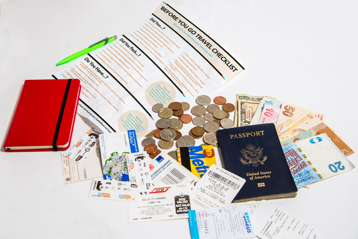 Travel Checklist, International Money, Transit Tickets, Notebook, and United States Passport | LOST NOT FOUND | The Essential Collection of Travel Tips for New and Experienced Travelers