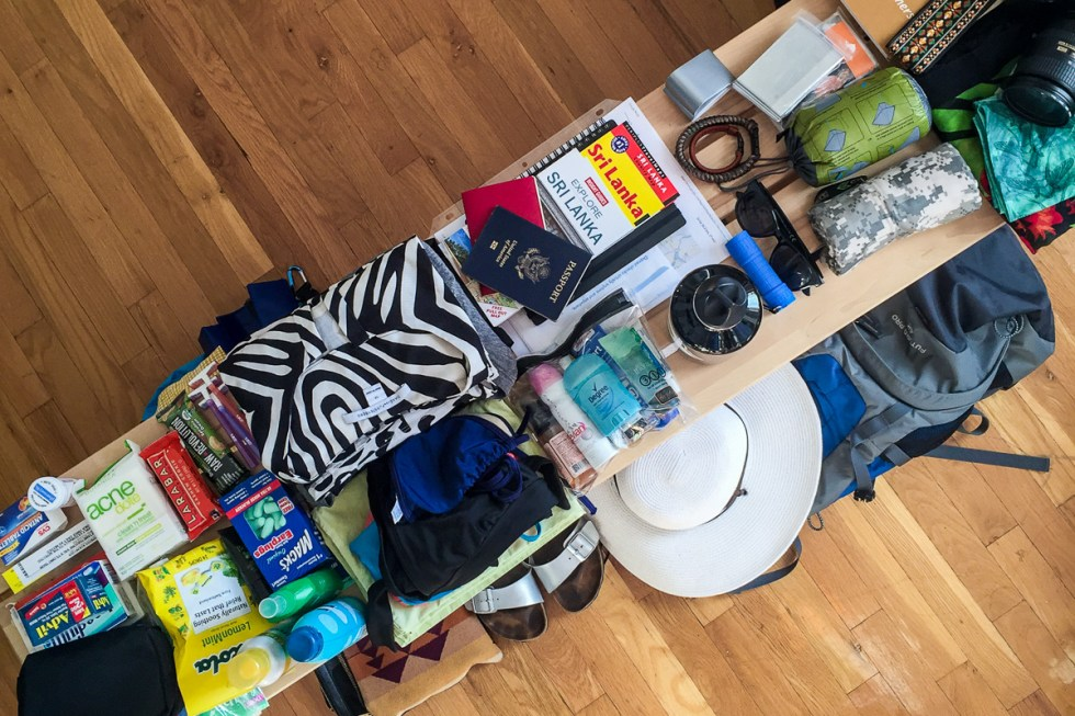 What to pack for Sri Lanka items all laid out for packing | LOST NOT FOUND | #packinglist #SriLanka #AsiatTravel