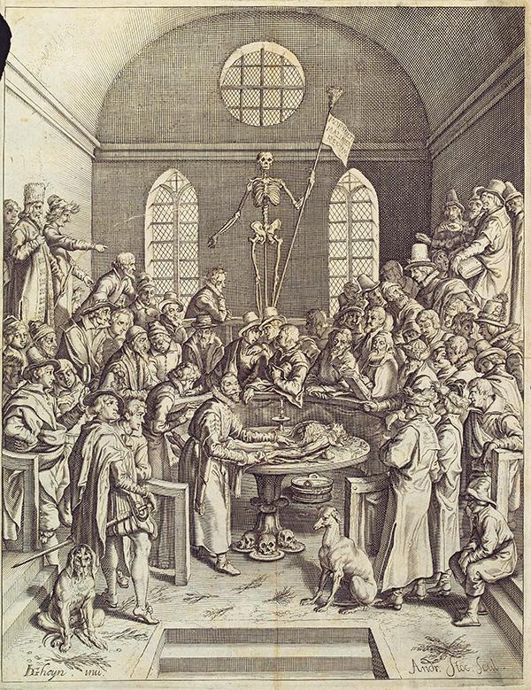 Jacob de Gheyn - Voorlezing van de anatomie - midden 17de eeuw Op dit soort voorstellingen van anatomielessen was Rembrandt's compositie waarschijnlijk gebaseerd. Ook het voorblad van het boek van Vesalius kende een compositie met een skelet in het midden in een anatomisch theater. Deze skeletten dienden als macabere versiering, en ze werden gebruikt bij het doceren van de beenderkunde.