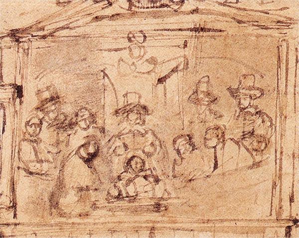 Rembrandt - De Anatomische les van Dr. Deyman - 110x133mm, Pen en penseel in grijze en zwarte inkt, Amsterdams Historisch Museum