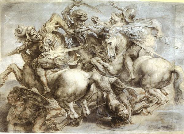 Anoniem - Kopie naar Slag bij Anghiari van Leonardo da Vinci - Midden 16de eeuw, later bijgewerkt door Rubens, 1603, Louvre, Parijs