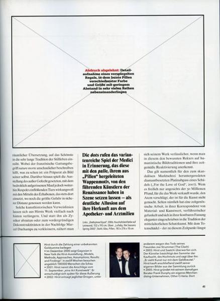 Damien Hirst wil niet in een negatief artikel