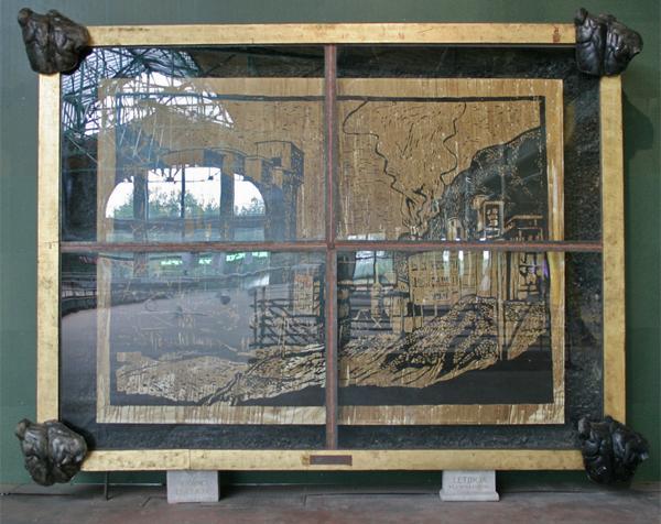 IRWIN - Red Districts - 350x420x40cm Bloed, steenkool, olieverf op doek, hout, marmer, aluminium, goud, ijzer en glas