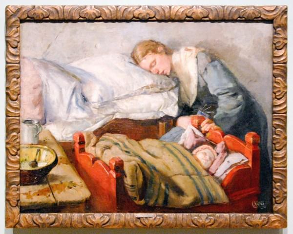 Christian Krohg - Slapende Moeder - Olieverf op doek, 1883