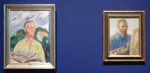 Edvard Munch - Zelfportret met palet - Olieverf op doek, 1926 & Vincent van Gogh - Zelfportret als schilder - Olieverf op doek, 1887-1888