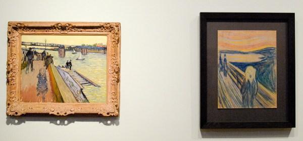 Vincent van Gogh - De brug van Trinquetaille - Olieverf op doek, 1888 & Edvard Munch - De Schreeuw - Kleurkrijt op karton, 1893