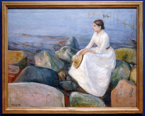 Edvard Munch - Zomernacht, Inger op het strand - Olieverf op doek, 1889