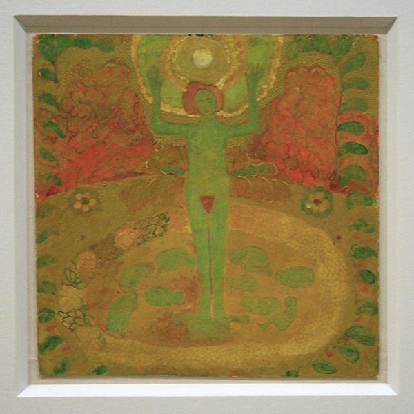 Kazimir Malevich - Nude with Hands Raised - Potlood en tempera op karton 1908