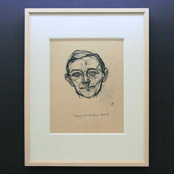 Oskar Kokoschka - Karl Maria Swoboda - Zwart krijt op licht verkleurd papier