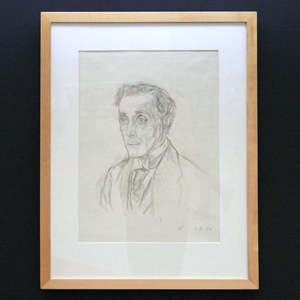 Oskar Kokoschka - Adolf Loos - Zilverstoft en aquarel op gegrond papier 1916