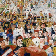 Ensor in MOMA, via onze grote held in New York, James Kalm. Ensor is altijd mooi, en James Kalm is altijd leuk. Gouden combi.