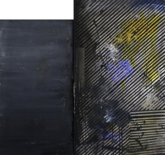 Love Birds (Lieber Maler) - Olieverf en spuitbus 70x74,5cm